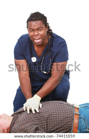 Young medical professional doing CPR