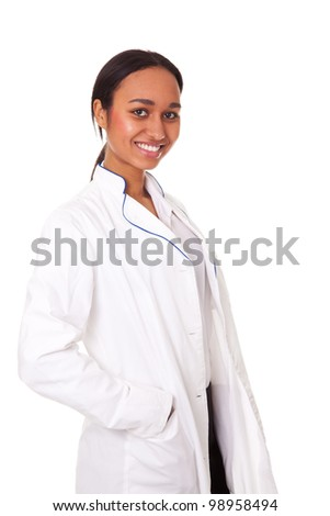 Young medical student isolated on white background