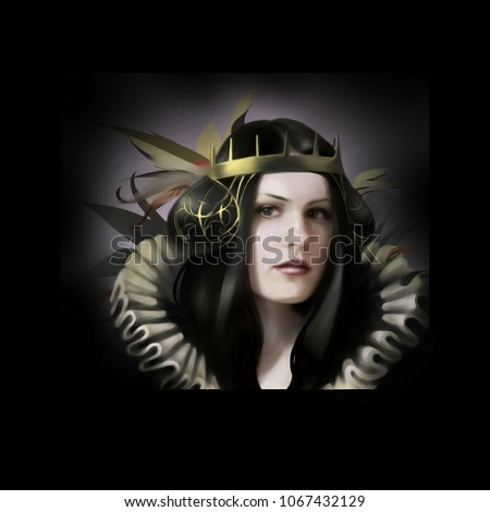 Stock Photo Young medieval female queen digital art