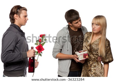 Young  men find out among themselves relations because of the girl. Double appointment.