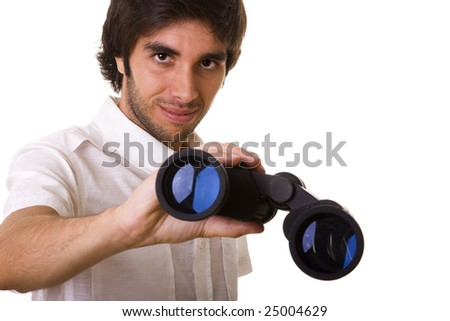young men giving you the binocular to search (isolated on white)