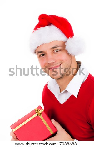young men in red christmas clothes and gift box