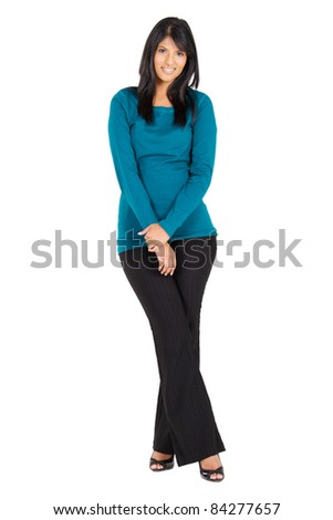 young modern indian woman full length portrait