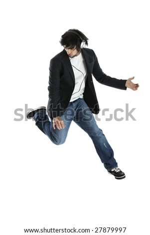 Young modern man jumping over a white background
