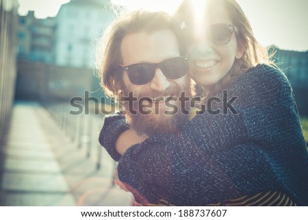 young modern stylish couple urban city outdoors