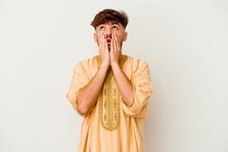 Young Moroccan man isolated on white background whining and crying disconsolately.