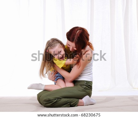 Young mother and daughter spend time together