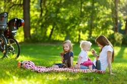 Young mother and her daughters picnicking in the park