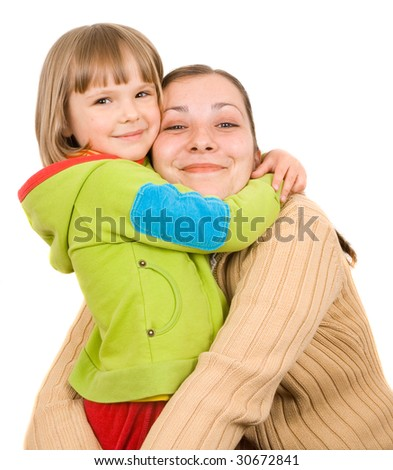 young mother and little daughter on a white background