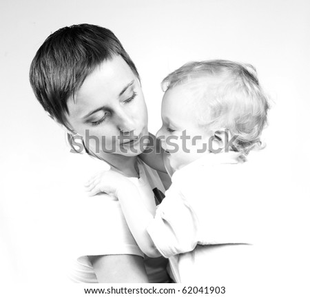 Young mother and son high key