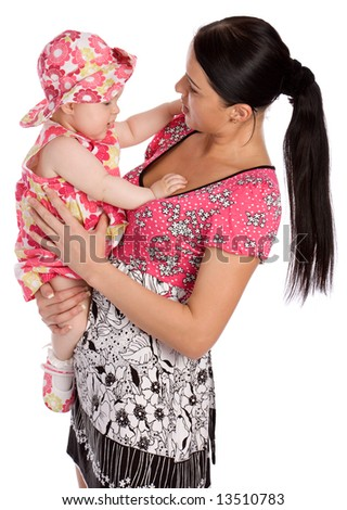 Young mother hold his infant child isolated on white