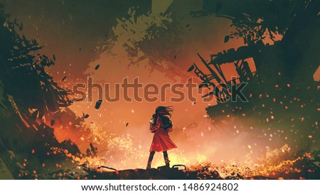 young mother in red coat carrying her baby standing in the burning city, digital art style, illustration painting