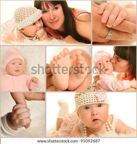 young mother with baby on white background