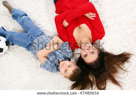 young mother with five years kid