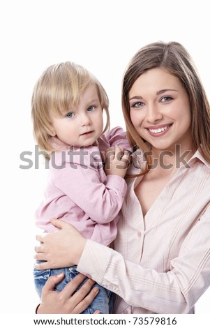 Young mother with her ??daughter in her arms on a white background - stock photo