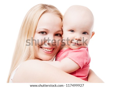 young mother with her eight months old baby, isolated on white background