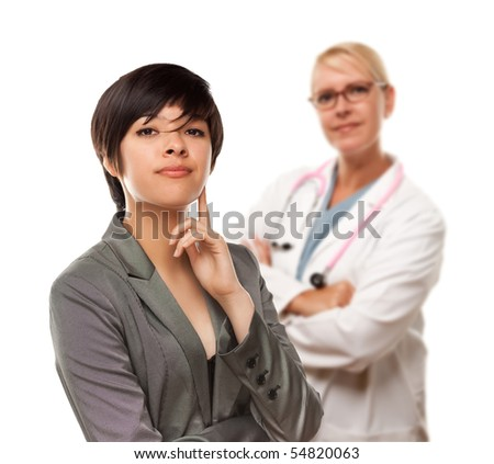 Young Multiethnic Woman and Female Doctor Isolated on a White Background.