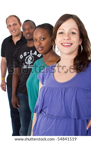 Young multiracial group - stock photo