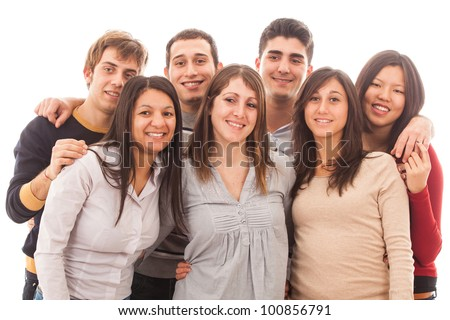Young Multiracial Group on White Background