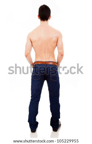 Young muscular male from the back, isolated on white background
