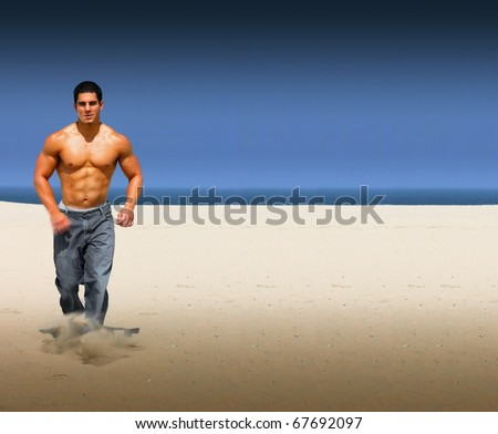 Young muscular male running on an isolated on a beach with lots of copy space