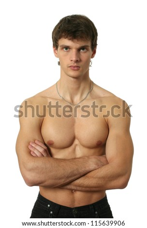 Young muscular man isolated on white
