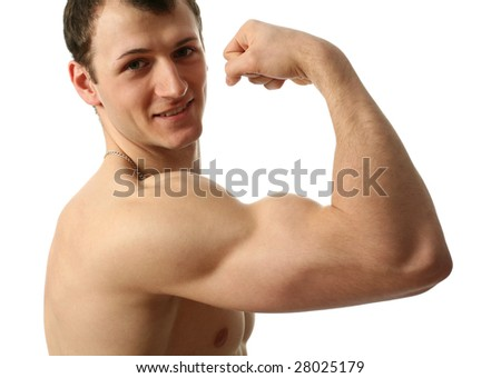 Young muscular man showing his biceps isolated on white