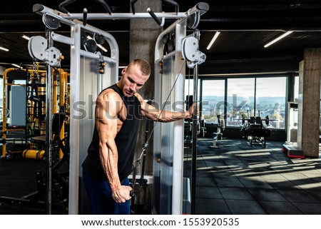Young muscular sweaty fit man doing triceps workout training in the gym on cable machine for big arms muscles