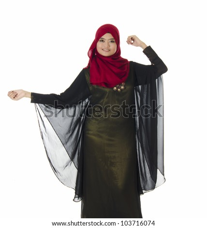 Young Muslim woman in head scarf with modern clothes.