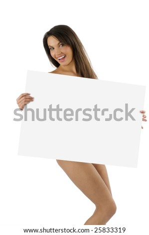 young naked woman with a great smile  with a display in front of her body