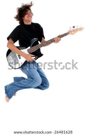 stock photo young native american teen boy with electric bass guitar jumping 26481628 Miss nude pageant teen