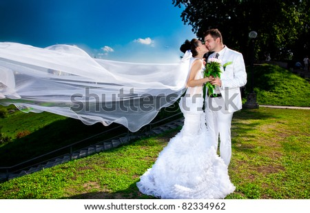 Young newly married couple posing in park.wind lifting long bridal veil