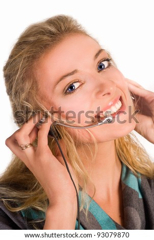 young nice woman on a white background