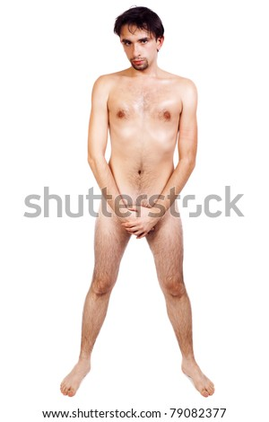 Young nude handsome man isolated on white background