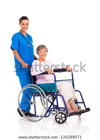 young nurse and senior patient isolated on white