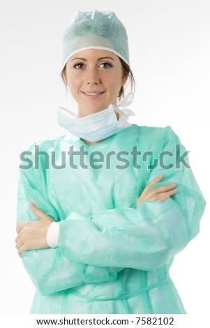 young nurse just after operation in surgery