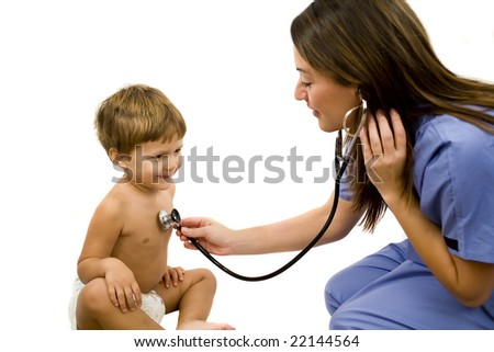Young nurse with a small child isolated on white background