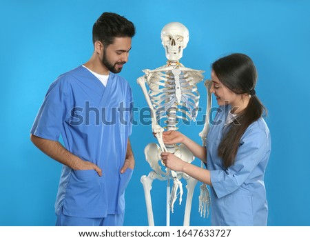 Young orthopedists with human skeleton model on blue background stock photo