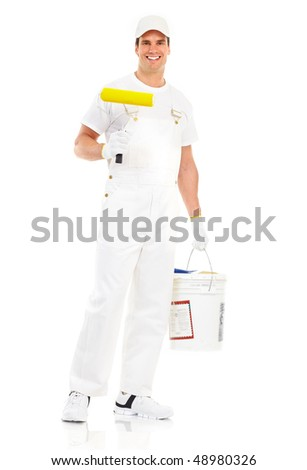 Young painter man in white suit. Isolated over white background