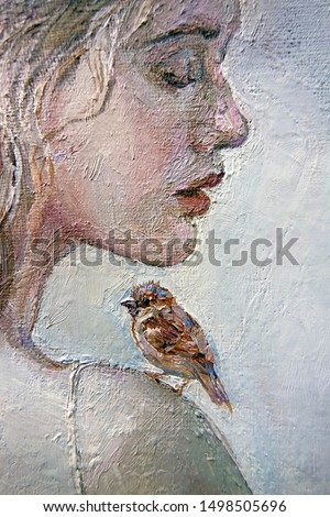 Young pensive girl with a cute whistling sparrow on her shoulder, gray background. Oil painting on canvas.