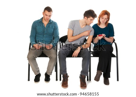 Young people are waiting in a room