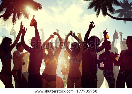 young people celebrating by the ...