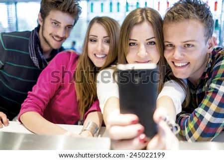 Young people enjoying and having fun