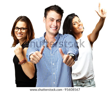 young people enjoying over white background