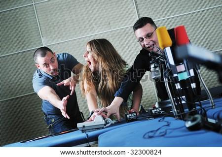 young people group indoor in music radio studio