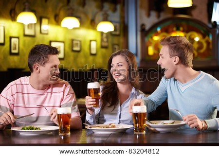 Young people have dinner at a restaurant #83204812
