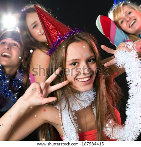young people have fun greets holiday