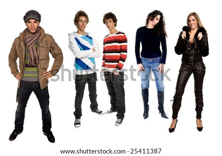 Young People In Studio, Isolated On White Background Stock Photo