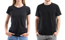 Young people in stylish t-shirts on white background