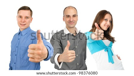 young people showing thumbs up. Isolated on white background.